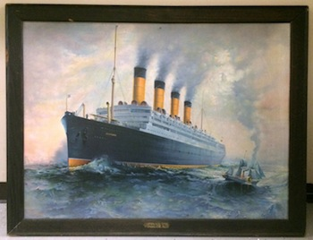 Ocean liner memorabilia and travel posters will include this Cunard Line tin sign