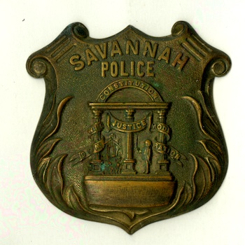 Antique police badge for the city of Savannah, Ga., circa 1890s (from the R. Laubenheimer Family Archives).