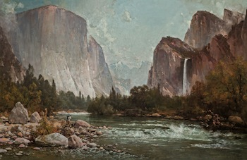This Yosemite scene by Thomas Hill (Am., 1829-1908), titled Fishing on the Merced River (Yosemite), was the auction's top lot, selling for $180,000.