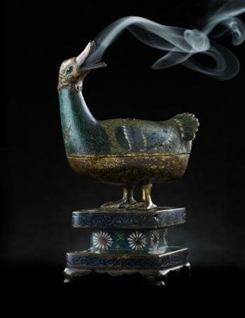 gilt bronze duck censer