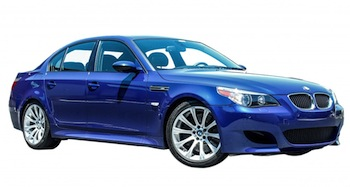 Interlagos metallic blue 2006 BMW M5, a one-owner sports car with just 11,000-plus original miles on the odometer.