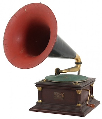 Victor No. 6 phonograph in a mahogany case with fluted corner columns with ormolu capitols and original japanned papier-mache horn with decal (est. $2,000-$3,000).