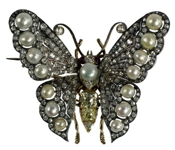 A spectacular large diamond, yellow diamond and natural pearl butterfly brooch, en tremblant. Estimate: £5,000-7,000