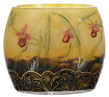 Signed Daum Nancy French cameo art glass pillow vase with carved floral, wasp and spider web design, 4 inches by 4 ½ inches ($3,250).