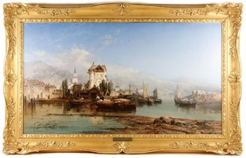 Oil on canvas by James Webb (Br., 1825-1895), titled View of Ehrenbreitstein on the Rhine, done in 1873, 30 ¾ inches by 48 ½ inches (framed).