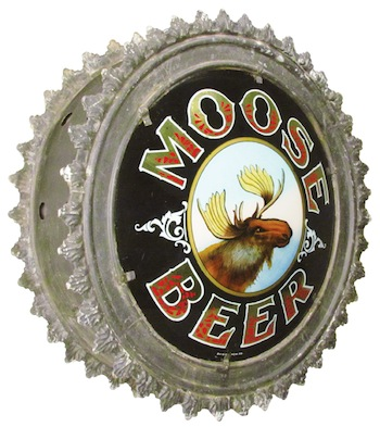 Rare two-sided canister reverse glass Moose Beer sign in excellent condition, circa 1880.