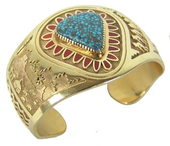Navajo solid 14kt gold-on-gold wide cuff Navajo bracelet with inlaid coral stones, made in the late 1900s by Vernon Haskie (est. $10,000-$20,000).
