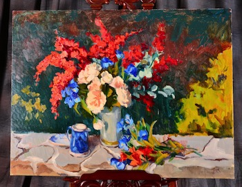 Around a dozen original oil paintings in varying sizes by Susan F. Greaves (Am., b. 1944) will cross the auction block.