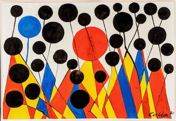 Original work by Alexander Calder (Am., 1898-1976) is a gouache on Canson and Montgolfier wove paper, titled Bosbies & Uniforms (est. $60,000-$80,000).