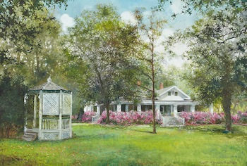 Oil on canvas painting, signed by Robert M. Rucker (Am., 1932-2000), and titled Robert Penn Warren House (est. $3,000-$5,000).