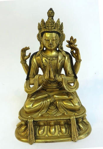 Qing Dynasty-era gilt bronze Buddha, 6 inches tall, with excellent gilt gold surface and engraved bottom (est. $5,000-$8,000).