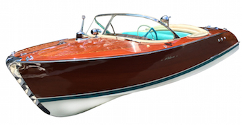 1957 Riva Ariston boat, made in Italy and fully restored in Switzerland at a cost to the owner of 140,000 euros (est. $50,000-$125,000).