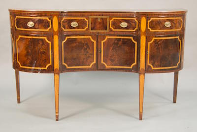 Many gorgeous pieces of period American furniture, such as this one shown, made circa 170-1810, 72 inches wide, will come up for bid Nov. 7.