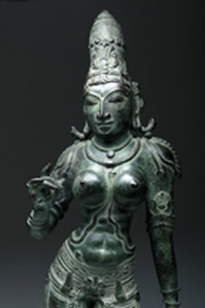 Indian bronze of Uma (Parvati), 19½ inches tall, Circa-1750 CE provenance includes purported gift in 1946 from Mahatma Gandhi. Est. $13,000-$19,000. Caption courtesy of Artemis Gallery