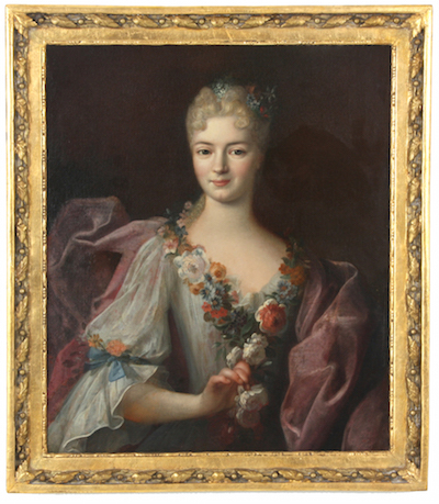 Portrait of a young woman with flowers in her hair and clutching a rose, unsigned but attributed to Jean-Marc Nattier (Fr., 1685-1766), framed (est. $15,000-$25,000).