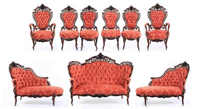 Nine-piece parlor suite by the renowned maker J. & J.W. Meeks (Am., 1797-1869), done in the Stanton Hall pattern, circa 1860 (est. $20,000-$30,000).
