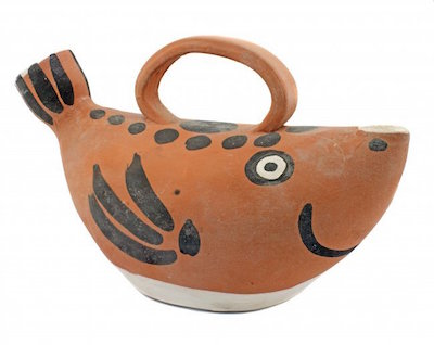 Red earthenware fish-form pitcher by Pablo Picasso (Sp., 1881-1973), conceived in 1952 and executed in 1962, one of 500, titled Sujet Poissin, 5 ½ inches tall ($3,000-$5,000).