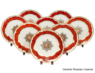 Set of eight Russian Gardner porcelain plates made for the Order of St. Alexander Nevsky service, 1778-1780. Estimate $40,000-$60,000. Image courtesy of Auction Gallery of the Palm Beaches