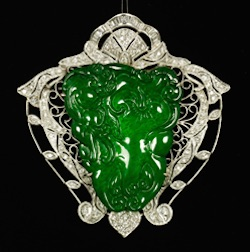Chinese 18K White Gold, Diamond and Jade Pin