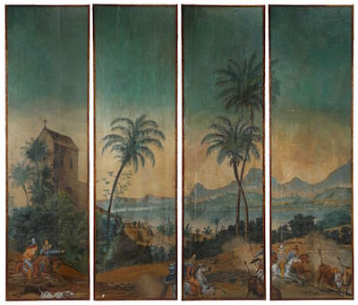 Set of four painted wooden panels, likely done in France in the 19th century, depicting figural scenes of life in French Indochina ($6,490).