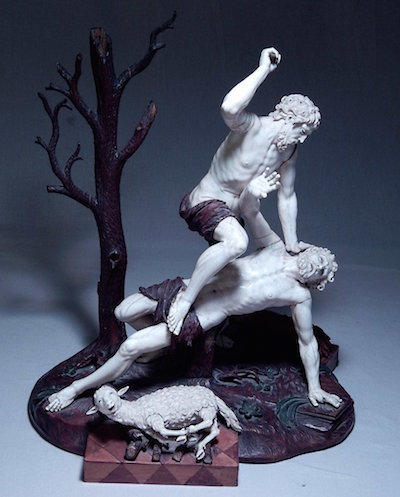Important Tyrolean carved ivory sculpture of Cain and Abel by Simon Troger (Austrian, 1694-1768), on a fruitwood base (est. $50,000-$75,000).