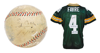 Ty Cobb game-used and single-signed record-setting home run baseball from May 6, 1925. Reserve: $5,000. Image courtesy of Grey Flannel Auctions