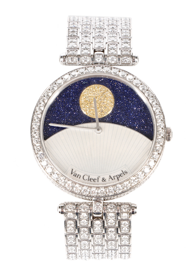 "Van Cleef & Arpels ""Jour Nuit"" diamond-encrusted, 24-hour automatic wristwatch that first sold in December 2011 for $204,000."