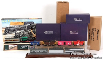 Group of six boxes of collector trains and sets that will be sold as one lot, with an estimate of $2,000-$3,000.