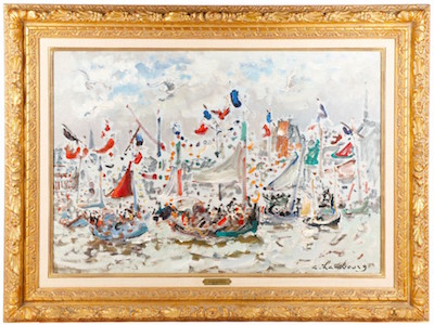 Oil on canvas seascape by Andre Hambourg (Fr., 1909-1999), titled Fetes des Marins, Honfleur, artist signed ($41,300).