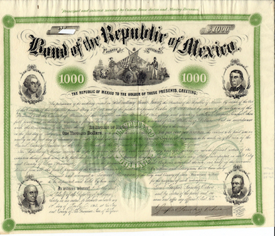 This bond of the Republic of Mexico, 1865, was the auction's top lot, fetching $8,555.