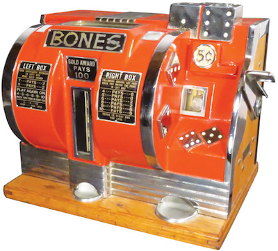 "Rare Buckley ""Bones"" 5-cent dice slot machine."