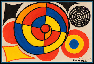 Gouache and ink on paper by Alexander Calder (Am., 1898-1976) titled Segmented Spiral (1974), one of three works by Calder in the auction.