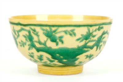 Ceramic highlights from the sale include lot 25, A CHINESE YELLOW AND GREEN BOWL. Qing Dynasty, Kangxi mark and of the period. 6.5cm H, 12.5cm diameter. (Estimate: £5,000 – 6,000)