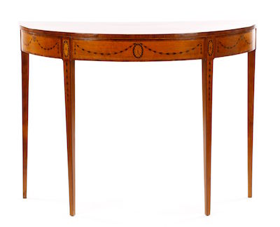 18th century English George III demilune (half-round) console, made in England after a design by Robert Adam.