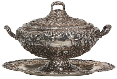 Large, oval-footed Gorham sterling silver vegetable tureen with Kirk tray, monogrammed on the back with the 1906 date (est. $5,000-$7,000).
