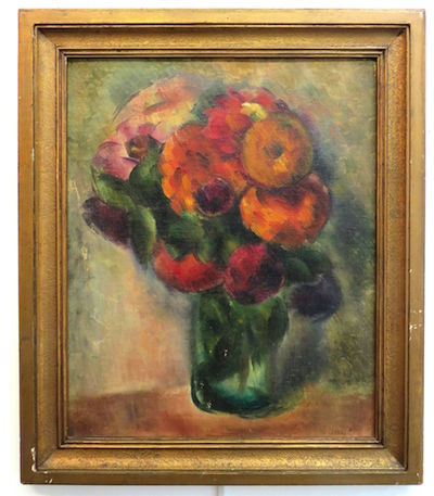 Oil on board painting of a vase with flowers by Michael Dasburg (Am., 1887-1979), 15 inches by 12 ¼ inches, estimated to bring $2,000-$5,000.
