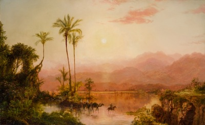 This oil on canvas depiction of a tropical scene by Louis Remy Mignot (Am., 1831-1870) is expected to soar to $100,000-$150,000.