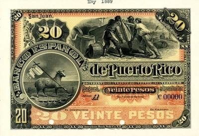 Banco Espanol de Puerto Rico, circa 1889-1890 20 Pesos proof banknote rarity.
