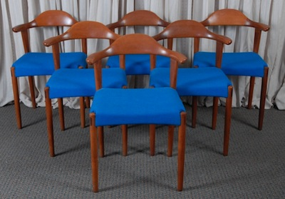 "Set of six vintage solid teak dining room chairs, stamped ""Made in Denmark, Randers Mobelfabrik."""