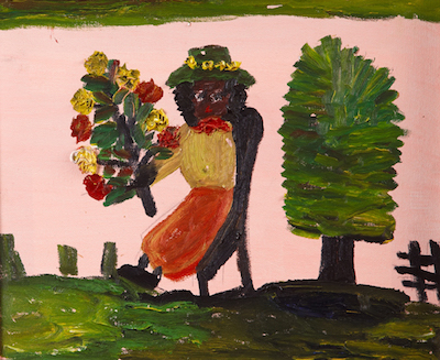 Oil on canvas by the renowned folk artist Clementine Hunter (1886-1988), titled Seated Woman With Bouquet of Flowers (est. $2,500-$4,500).