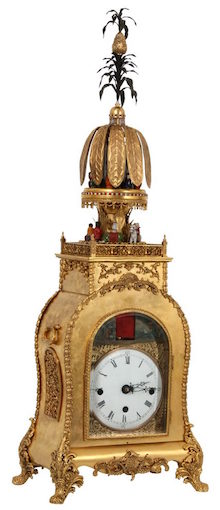 Chinese animated two-sided bracket clock, one side with a Chinese theme, the other a Western theme, both with 6-inch porcelain dials ($332,750).