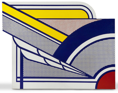 Porcelain enamel on steel titled Modern Painting in Porcelain, by Roy Lichtenstein (Am. 1923-1997), one of four works by Lichtenstein in the auction ($189,750).