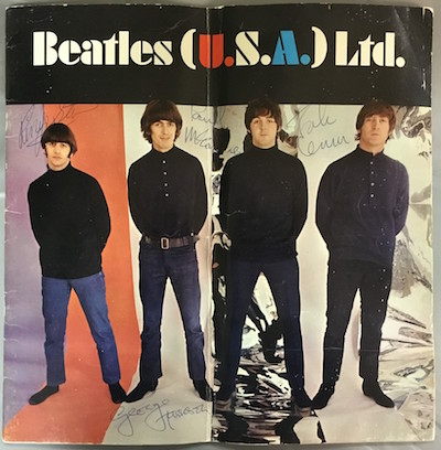 "U.S. concert tour program from 1966, titled ""Beatles (U.S.A.) Ltd."" and signed on the cover by all four Beatles."