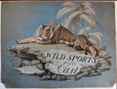 HOWITT, Samuel (1756/7-1822). Original hand painted design for the frontispiece of Wild Sports of the East. Depicting a Tiger resting on a large rock on which are the title, and publisher Edwd Orme 59 Bond Street.