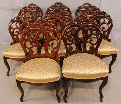 Set of eight rosewood rococo laminated dining chairs, rare and in great condition, attributed to John H. Belter, circa 1855.