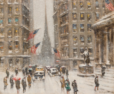 Two exemplary Manhattan snow scenes by Guy Carleton Wiggins (Am., 1883-1962), including this one shown, will be sold.