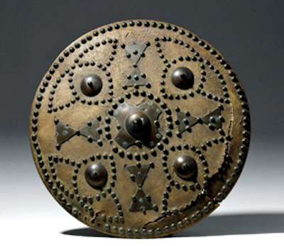 Rare 17th-century CE Scottish targe or shield, bronze-studded leather and wood. Estimate $15,000-$20,000
