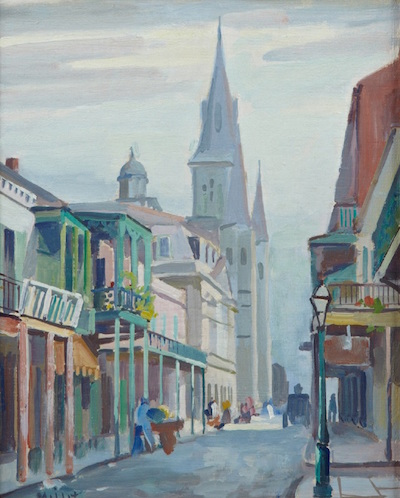 Oil on board, painted and signed by New Orleans artist Clarence Millett (1897-1959), titled St. Louis Cathedral from Chartres Street, framed.