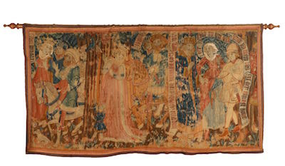 Rare 16th century hand-woven German Gothic figural tapestry panel, measuring 39 ¼ inches by 72 inches ($48,380).