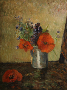 Paul Gauguin (French, 1848-1903), Fleurs D'Ete Dans Un Gobelet, 1885, oil on canvas, 13 x 9¾ inches (sight), initialed at lower right 'PG,' shown in Gauguin catalogue raisonee, authenticated by Wildenstein Institute, est. $800,000-$1.2 million Image courtesy of Litchfield County Auctions & Appraisals